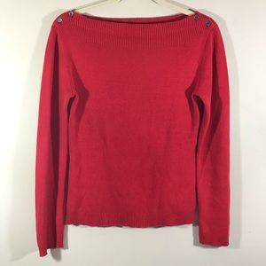 Banana Republic red sweater with shoulder buttons